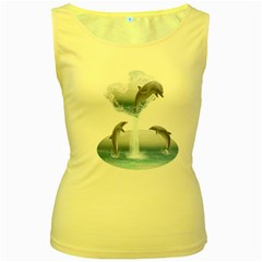 The Heart Of The Dolphins Womens  Tank Top (Yellow)