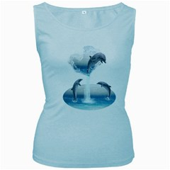The Heart Of The Dolphins Womens  Tank Top (Baby Blue)