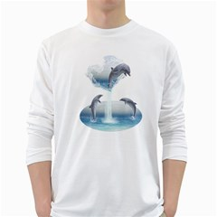 The Heart Of The Dolphins Mens' Long Sleeve T Shirt (white)
