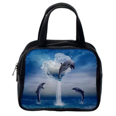The Heart Of The Dolphins Classic Handbag (One Side)