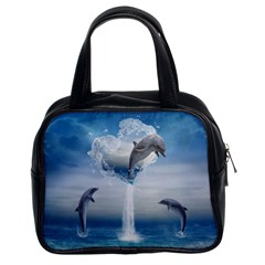 The Heart Of The Dolphins Classic Handbag (Two Sides)