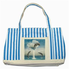 The Heart Of The Dolphins Blue Striped Tote Bag