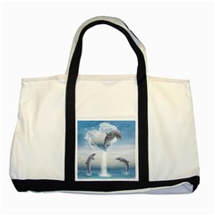 The Heart Of The Dolphins Two Toned Tote Bag