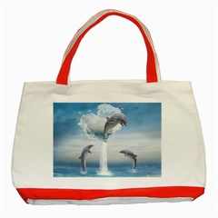 The Heart Of The Dolphins Classic Tote Bag (Red)