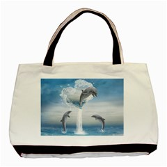 The Heart Of The Dolphins Twin Sided Black Tote Bag