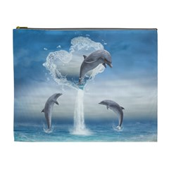 The Heart Of The Dolphins Cosmetic Bag (xl)