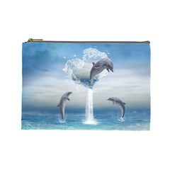 The Heart Of The Dolphins Cosmetic Bag (Large)