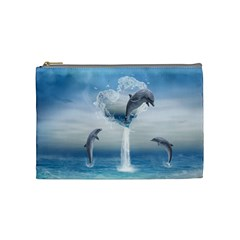 The Heart Of The Dolphins Cosmetic Bag (Medium)