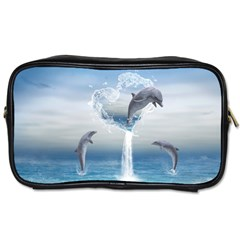 The Heart Of The Dolphins Travel Toiletry Bag (One Side)