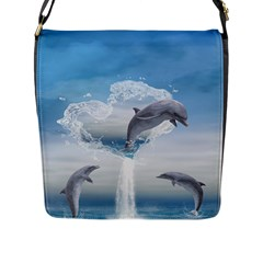 The Heart Of The Dolphins Flap Closure Messenger Bag (Large)