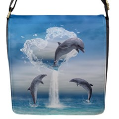 The Heart Of The Dolphins Flap closure messenger bag (Small)