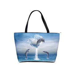 The Heart Of The Dolphins Large Shoulder Bag