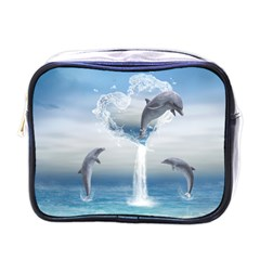 The Heart Of The Dolphins Mini Travel Toiletry Bag (One Side)