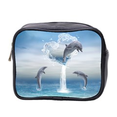 The Heart Of The Dolphins Mini Travel Toiletry Bag (Two Sides)