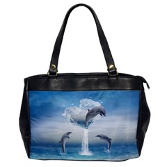 The Heart Of The Dolphins Oversize Office Handbag (one Side)