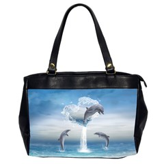 The Heart Of The Dolphins Oversize Office Handbag (Two Sides)