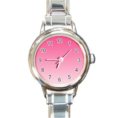 French Rose To Piggy Pink Gradient Round Italian Charm Watch