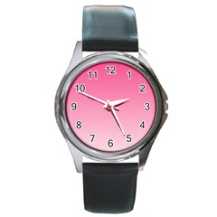 French Rose To Piggy Pink Gradient Round Metal Watch (silver Rim)