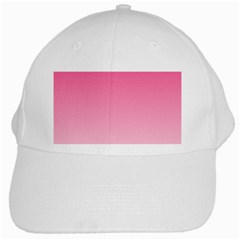 French Rose To Piggy Pink Gradient White Baseball Cap