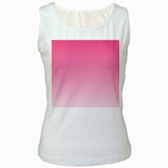 French Rose To Piggy Pink Gradient Womens  Tank Top (white)