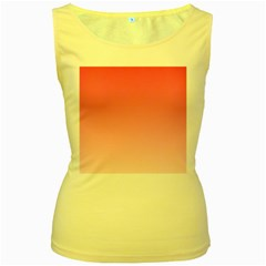 French Rose To Piggy Pink Gradient Womens  Tank Top (Yellow)