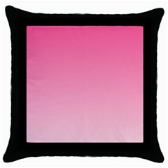 French Rose To Piggy Pink Gradient Black Throw Pillow Case