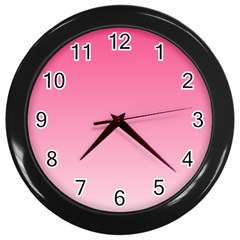 French Rose To Piggy Pink Gradient Wall Clock (Black)