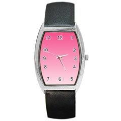 French Rose To Piggy Pink Gradient Tonneau Leather Watch