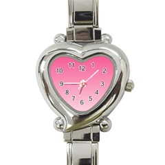 French Rose To Piggy Pink Gradient Heart Italian Charm Watch