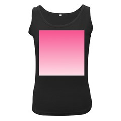 French Rose To Piggy Pink Gradient Womens  Tank Top (black)