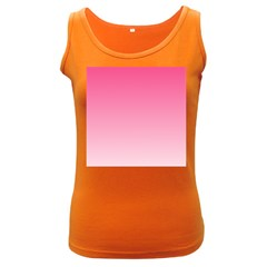 French Rose To Piggy Pink Gradient Womens  Tank Top (dark Colored)
