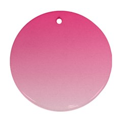 French Rose To Piggy Pink Gradient Round Ornament (two Sides)