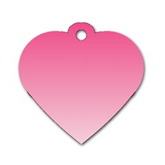 French Rose To Piggy Pink Gradient Dog Tag Heart (One Sided)