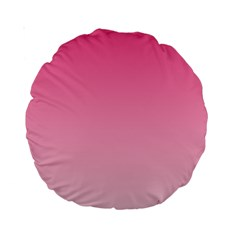 French Rose To Piggy Pink Gradient 15  Premium Round Cushion