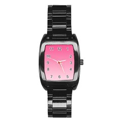 French Rose To Piggy Pink Gradient Men s Stainless Steel Barrel Analog Watch
