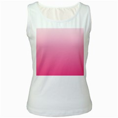 Piggy Pink To French Rose Gradient Womens  Tank Top (White)