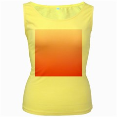 Piggy Pink To French Rose Gradient Womens  Tank Top (Yellow)