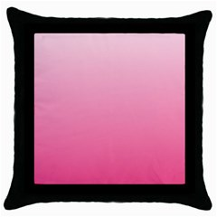 Piggy Pink To French Rose Gradient Black Throw Pillow Case