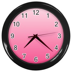 Piggy Pink To French Rose Gradient Wall Clock (black)