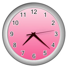 Piggy Pink To French Rose Gradient Wall Clock (Silver)