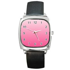 Piggy Pink To French Rose Gradient Square Leather Watch