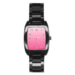 Piggy Pink To French Rose Gradient Men s Stainless Steel Barrel Analog Watch