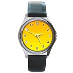 Chrome Yellow To Yellow Gradient Round Metal Watch (Silver Rim) Front
