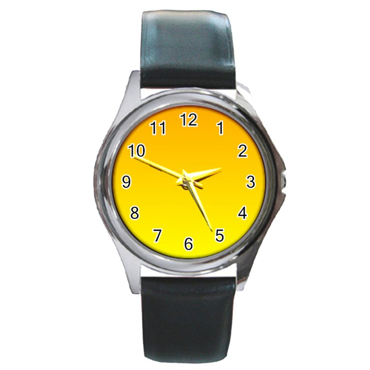 Chrome Yellow To Yellow Gradient Round Metal Watch (Silver Rim)