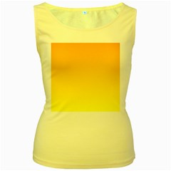 Chrome Yellow To Yellow Gradient Womens  Tank Top (Yellow)