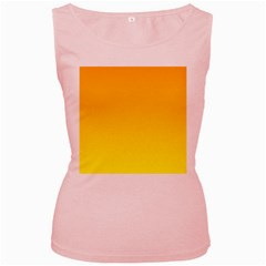 Chrome Yellow To Yellow Gradient Womens  Tank Top (Pink)