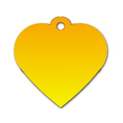Chrome Yellow To Yellow Gradient Dog Tag Heart (Two Sided)