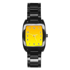 Chrome Yellow To Yellow Gradient Men s Stainless Steel Barrel Analog Watch
