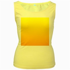 Yellow To Chrome Yellow Gradient Womens  Tank Top (Yellow)