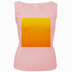 Yellow To Chrome Yellow Gradient Womens  Tank Top (Pink)